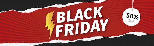 Venta de banner de viernes negro moderno con diseño de papercut