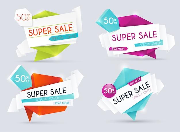 Venta de banners, descuentos y oferta especial. fondo comercial, etiqueta para promoción empresarial. ilustración.