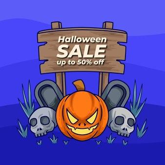 Venta de calabazas de halloween con calavera y lápida