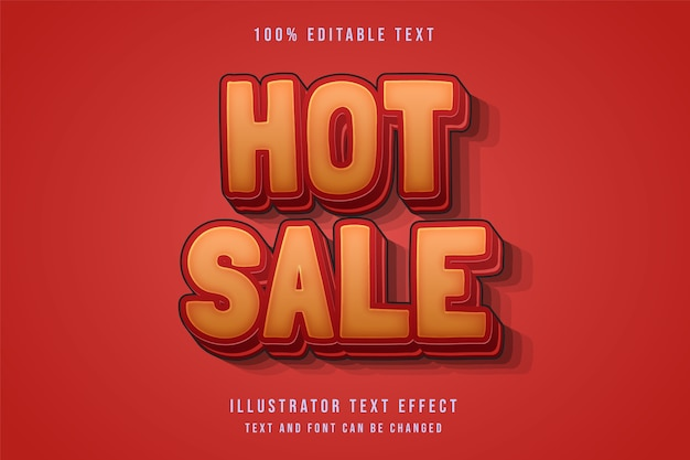 Venta caliente, efecto de texto editable 3d estilo de texto de sombra roja de gradación amarilla