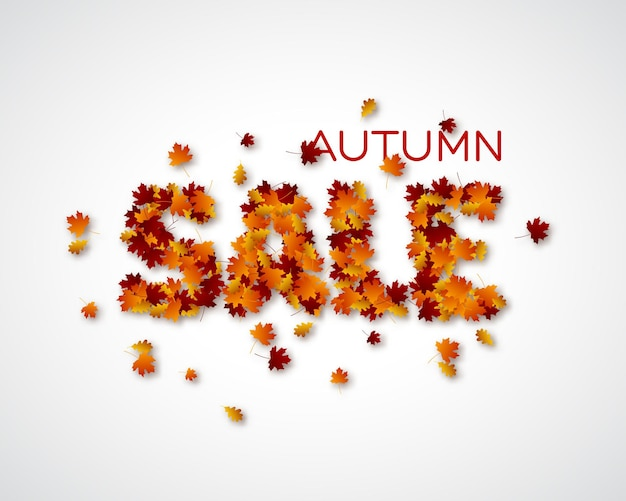 Venta de cartas de hojas de otoño. fondo de follaje de otoño. ilustración vectorial.