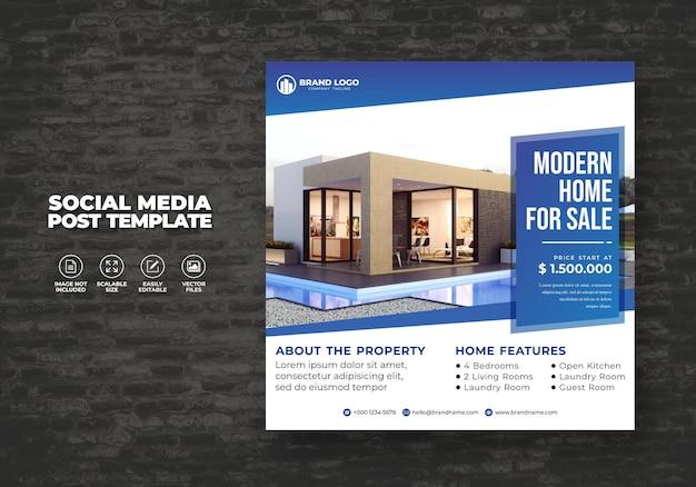 Venta de casa inmobiliaria moderna y elegante para poste de banner de redes sociales y plantilla de volante cuadrado