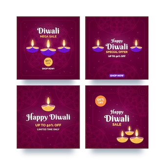 Venta de celebración de diwali publicaciones de instagram