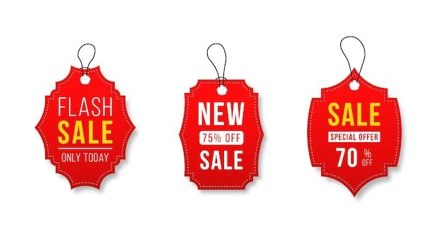 Venta de cintas, insignias, pancartas, etiquetas de precios, nuevas ofertas, colección en rojo