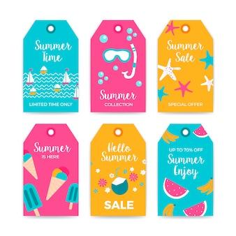 Venta colección de etiquetas de verano con elementos de verano