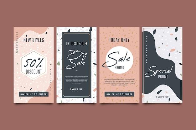 Venta colección de historias de instagram en terrazo y estilo dibujado a mano