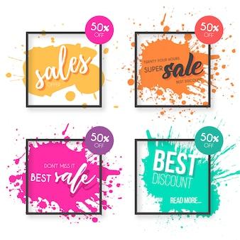 Venta colorida colección de banner con salpicaduras de pintura