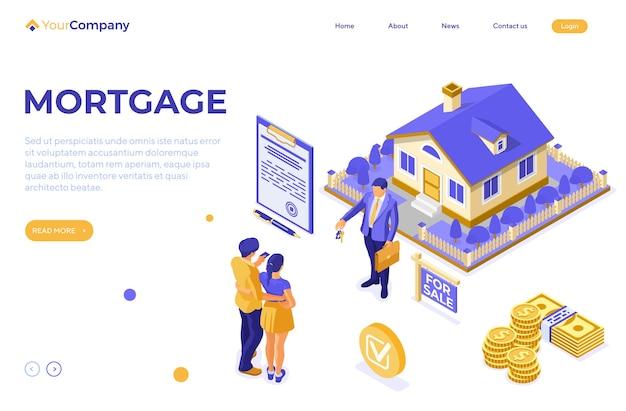 Venta, compra, alquiler, concepto isométrico de casa hipotecaria para publicidad con hogar, agente inmobiliario, llave, familia invierte dinero en bienes raíces. plantilla de página de destino.
