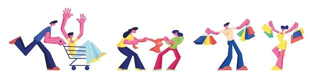 Venta y compras conjunto de personas aisladas sobre fondo blanco. personajes masculinos y femeninos comprando cosas, luchando por comprar en la tienda, montando en carro en el supermercado. ilustración de vector plano de dibujos animados