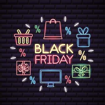Venta de compras de viernes negro en luces de neón