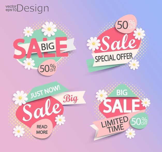 Venta - conjunto de etiquetas modernas de color de moda con fondo de semitono y flores. venta y descuentos. ilustración vectorial.
