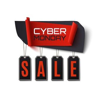 Venta de cyber monday. banner abstracto aislado sobre fondo blanco. plantilla de diseño para folleto, cartel o volante.