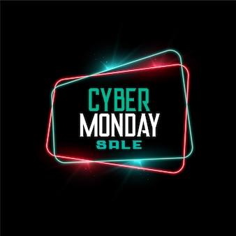 Venta de cyber monday en banner de estilo de marco de neón