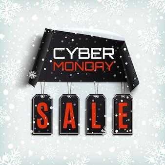 Venta de cyber monday. banner de papel curvo con etiquetas de precio negras sobre fondo de invierno con nieve y copos de nieve.