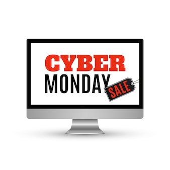 Venta de cyber monday. fondo con monitor de computadora y etiqueta de precio, sobre fondo blanco. ilustración.