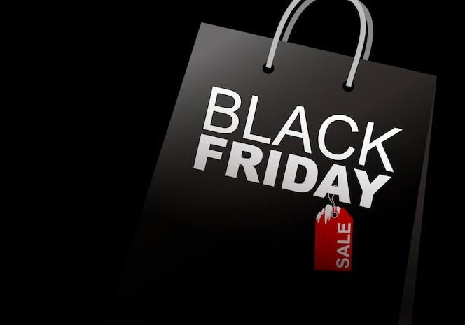 Venta de viernes negro del bolso de compras en el fondo blanco