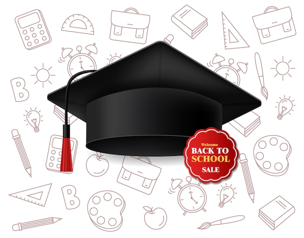Venta de descuento de gorro de graduación para el regreso a la escuela