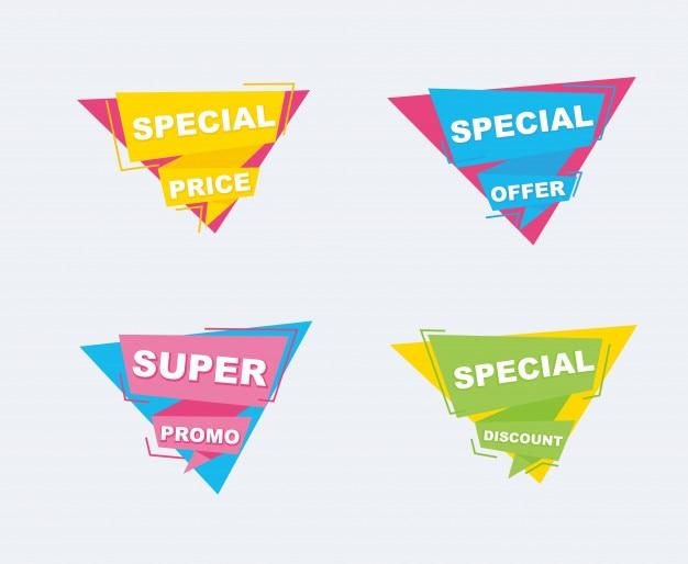 Venta y descuentos conjunto de banners. cinta de formas geométricas y origami.