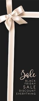 Venta y descuentos el viernes negro, elegante lazo de cinta blanca y texto caligráfico. compras en vacaciones mediante reducción de precio. oferta de tienda o tienda, productos baratos. vector en estilos planos