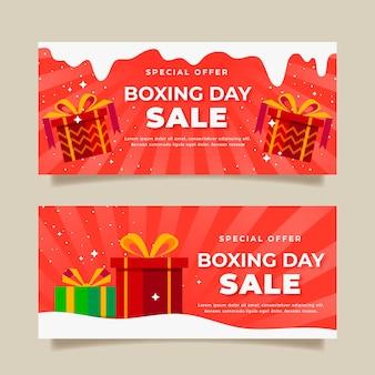Venta de día de boxeo de diseño plano de banners