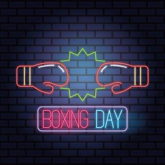 Venta de día de boxeo luces de neón con guantes, diseño de ilustraciones vectoriales