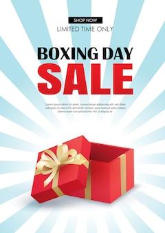 Venta del día del boxeo con la plantilla roja del cartel de la publicidad de la caja de regalo.
