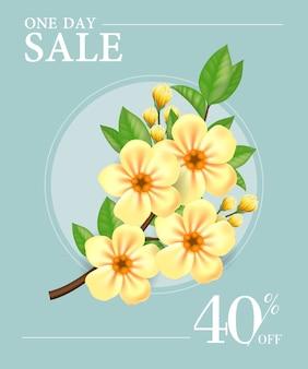 Venta de un día, cartel de cuarenta por ciento de descuento con flores amarillas en marco redondo