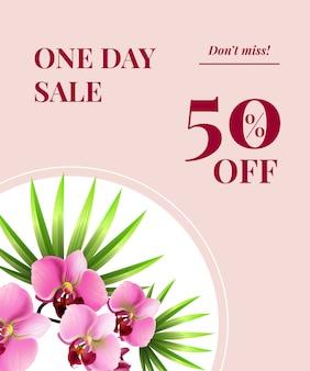 Venta de un día, cincuenta por ciento de descuento, no se pierda el cartel con flores rosadas en el círculo blanco.