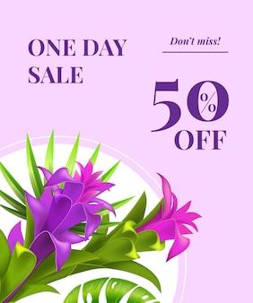 Venta de un día, cincuenta por ciento de descuento, no se pierda el folleto con flores violetas en marco redondo