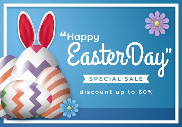 Venta del día de pascua para banner de redes sociales con adorno de huevo