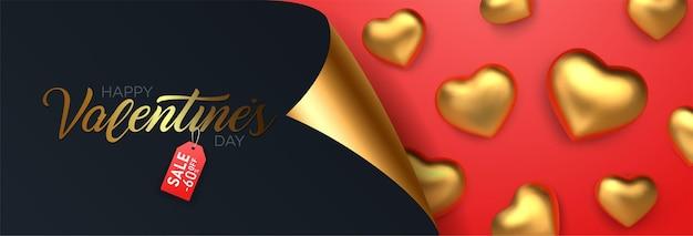 Venta del día de san valentín, banner de descuento con corazones de oro realistas.