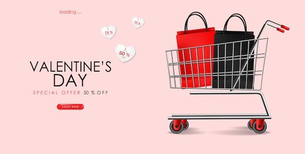 Venta del día de san valentín, carrito de compras realista con bolsos, venta, gran promoción, plantilla de venta especial, pancarta