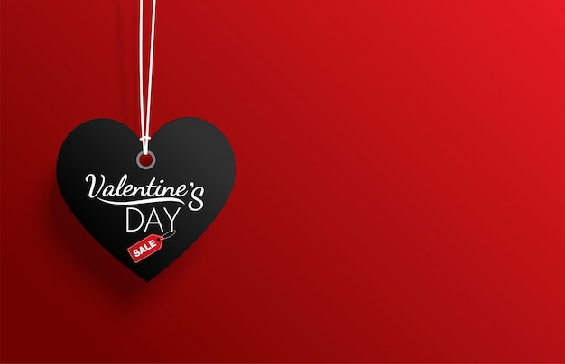 Venta de día de san valentín etiqueta negra sobre fondo rojo