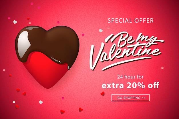 Venta de día de san valentín, fondo web con corazón de chocolate.