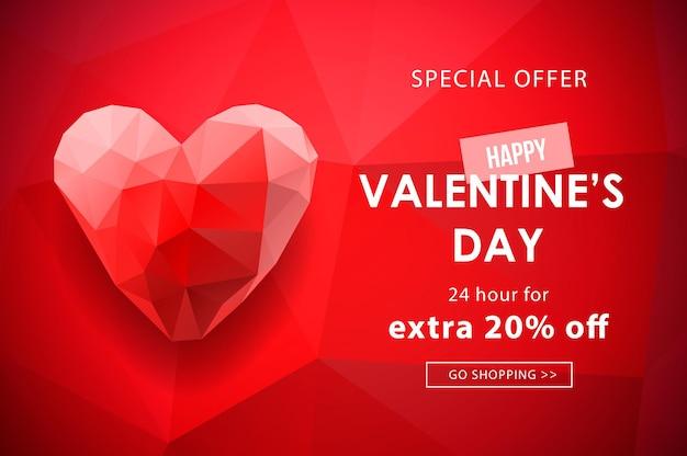 Venta de día de san valentín, fondo web con forma de corazón poligonal.