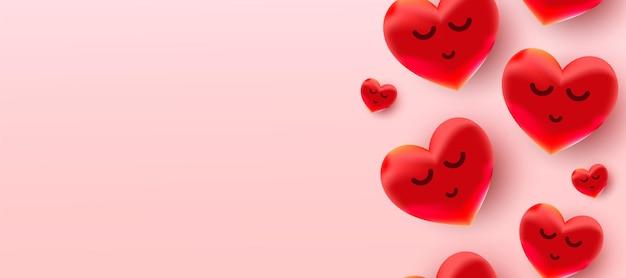 Venta de día de san valentín con patrón de corazones de globos rojos de lámina de aire.