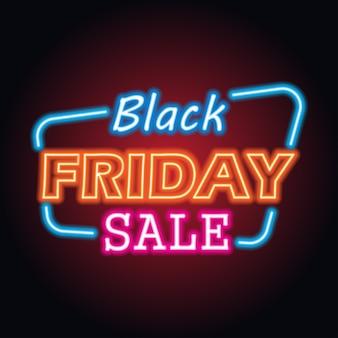 Venta de día de viernes negro con efecto de signo de neón para el evento de día de viernes negro