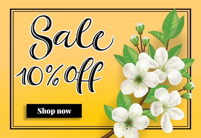 Venta diez por ciento de descuento compre ahora letras. inscripción de primavera con ramita de flor de manzana