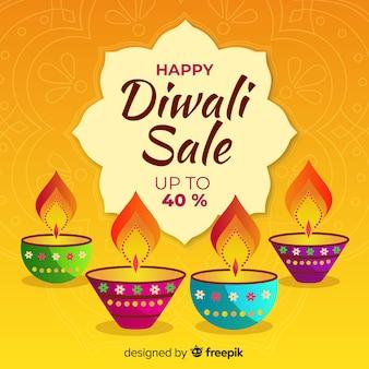 Venta de diwali dibujada a mano con velas y 40% de descuento