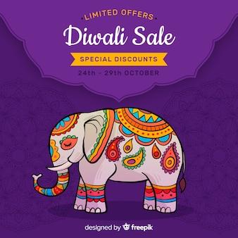 Venta de diwali dibujado a mano y elefante indio