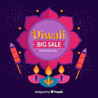 Venta de diwali dibujado a mano con velas y fuegos artificiales