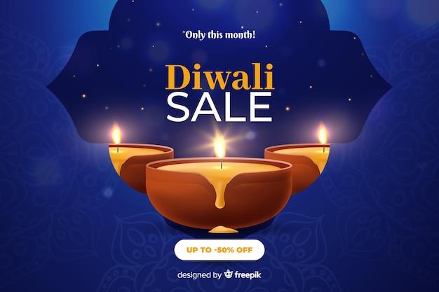 Venta de diwali en diseño realista