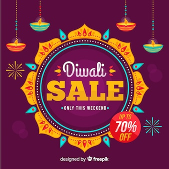 Venta de diwali plana con 70% de descuento