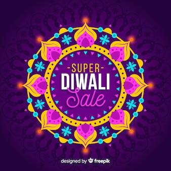 Venta de diwali plano con decoraciones