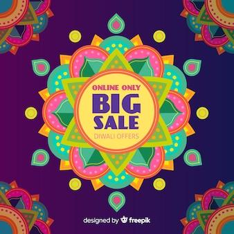Venta de diwali plano con diseño colorido
