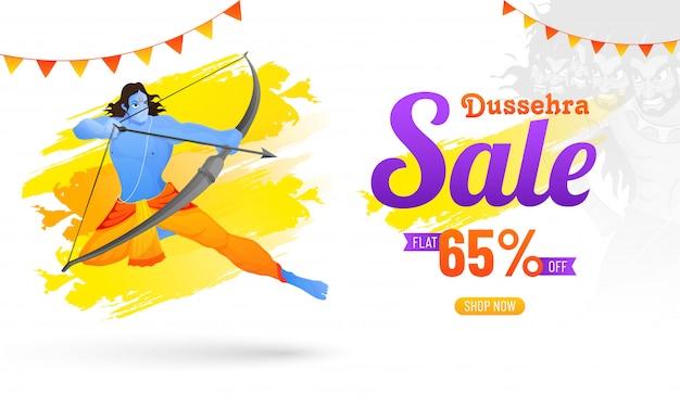 Venta de dussehra con una oferta de descuento del 65%