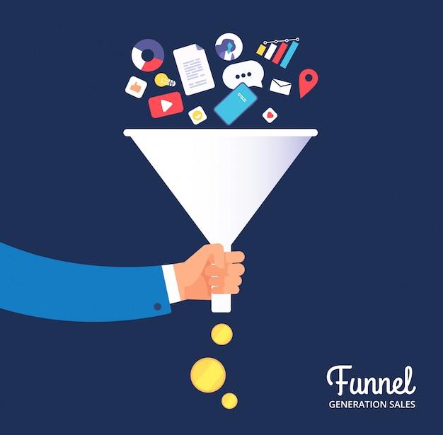 Venta embudo. gestión y optimización de leads. tecnología líder y marketing en medios. concepto de vector de conversión de venta
