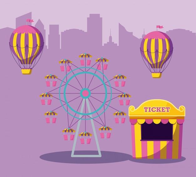 Venta de entradas de carpa de circo con parque de atracciones.