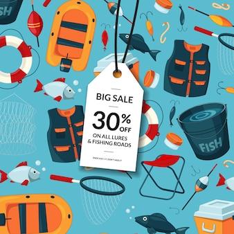 Venta con etiqueta colgante y lugar para texto con equipo de pesca de dibujos animados