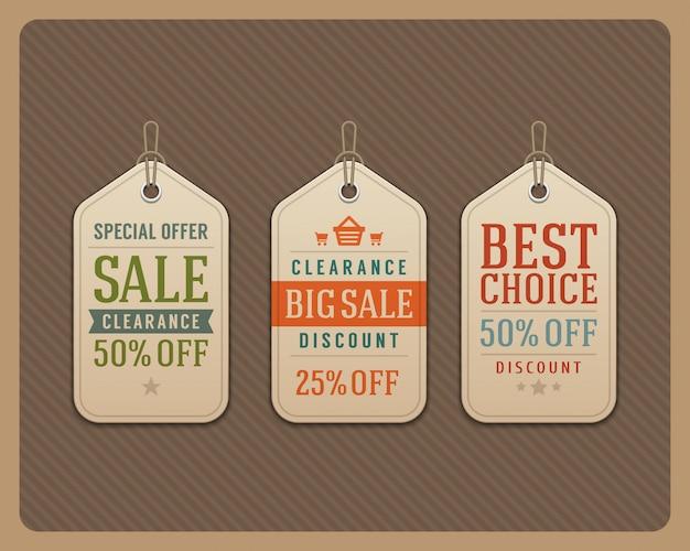 La venta etiqueta el ejemplo tipográfico retro del vector de los elementos del diseño de las etiquetas.
